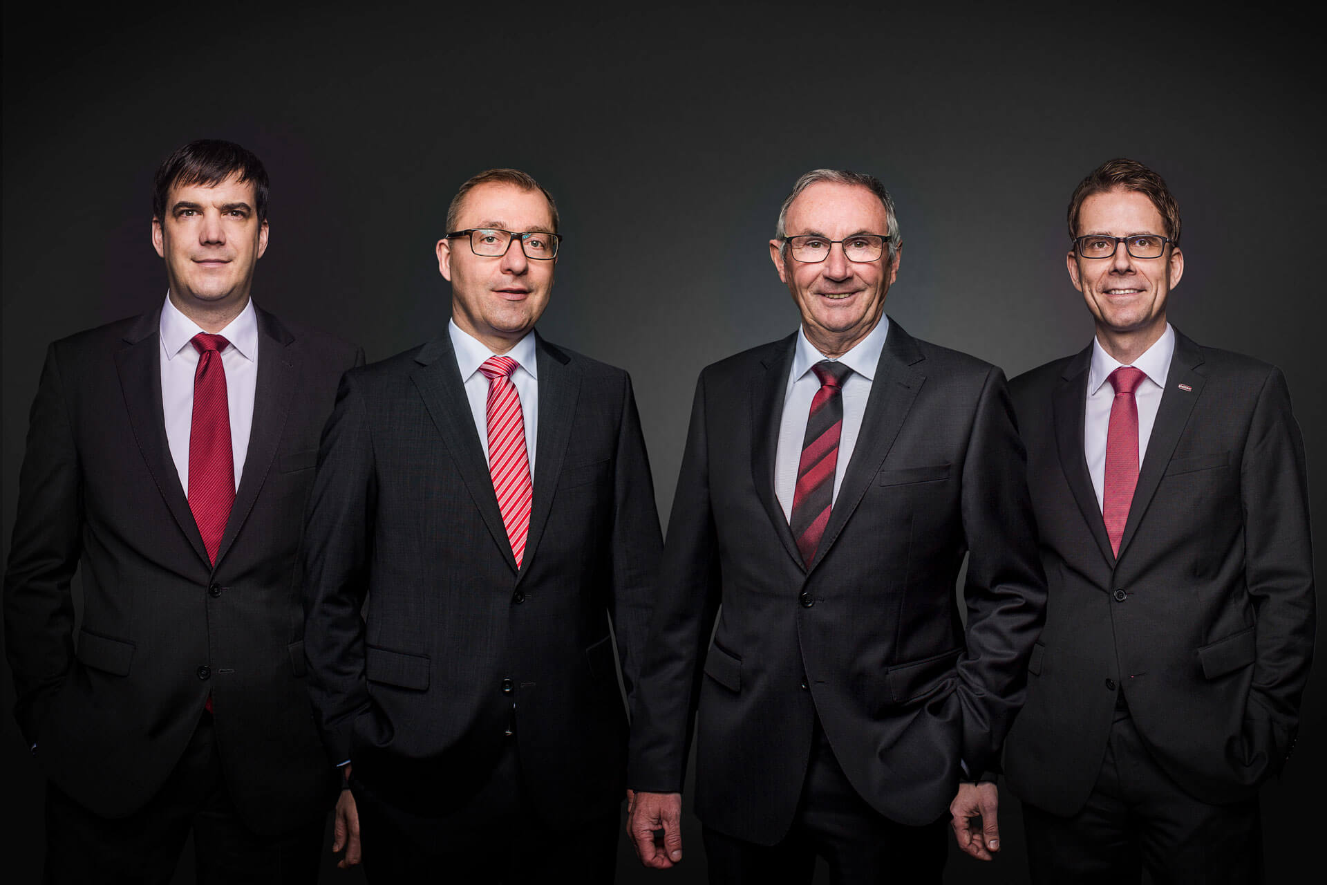 left to right: Michael Gruben (Verkauf); Reiner Heinzelmann (Finance); Joachim Glatthaar (Gründer); Dirk Wetzel (NL Simmern + Technical Department).